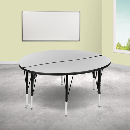 """2 Piece 47.5"""" Circle Wave Collaborative Grey Thermal Laminate Activity Table Set - Height Adjustable Short Legs"""