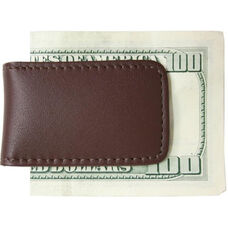 Magnetic Money Clip - Top Grain Nappa Leather with Suede Lining - Brown