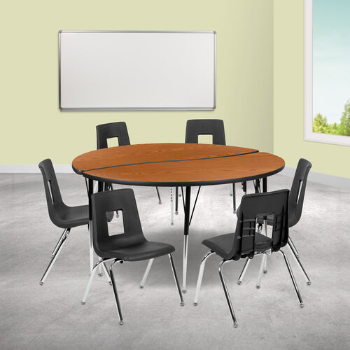 """60"""" Circle Wave Collaborative Laminate Activity Table Set with 18"""" Student Stack Chairs, Oak/Black"""