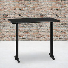 30'' x 48'' Rectangular Black Laminate Table Top with 5'' x 22'' Bar Height Bases