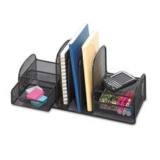 Safco® Onyx Mesh Desk Organizer - Three Sections/Two Baskets - 17 x 6 3/4 x 7 3/4 - Black