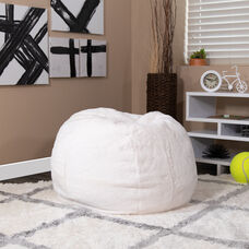Small White Furry Bean Bag Chair for Kids and Teens