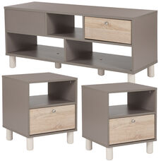 Montclair Collection 3 Piece Coffee and End Table in Gray Finish with Sonoma Oak Wood Grain Drawers