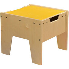 LEGO™ Compatible Reversible Table with Yellow Top - Assembled - 18.63