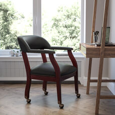 Black LeatherSoft Conference Chair with Accent Nail Trim and Casters