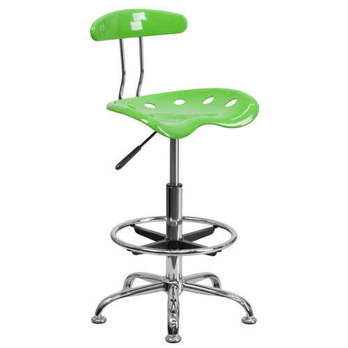 Our Vibrant Apple Green and Chrome Drafting Stool with Tractor Seat is on sale now.