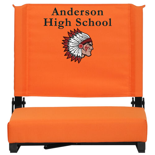 Our Embroidered Grandstand Comfort Seats by Flash with Ultra-Padded Seat in Orange is on sale now.