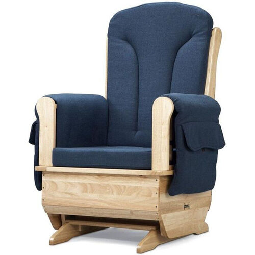 Our Wooden Glider Rocking Chair with Blue Polyester Fabric and Armrest Pockets - 30