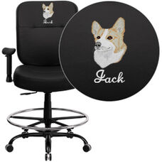 Embroidered HERCULES Series Big & Tall 400 lb. Rated Black Leather Ergonomic Draft Chair - Adjustable Arms