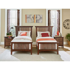 Inspired By Bassett Modern Mission Double Twin Bedroom Set with 2 Nightstands