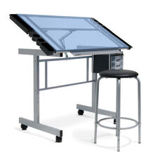 Vision 2 Piece Blue Tempered Glass and Steel Craft Center with Padded Stool - Silver