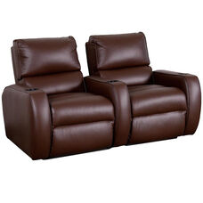 Welbourne Two Seater Home Theater - Straight Arm in Top Grain Leather