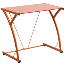 Contemporary Tempered Orange Glass Computer Desk with Matching Frame