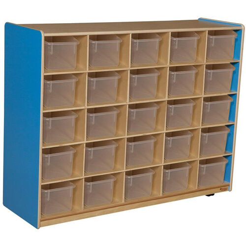 Our Wooden Storage Unit with 25 Clear Plastic Trays - Blueberry - 48