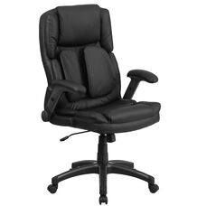 Extreme Comfort High Back Black LeatherSoft Executive Swivel Ergonomic Office Chair with Flip-Up Arms