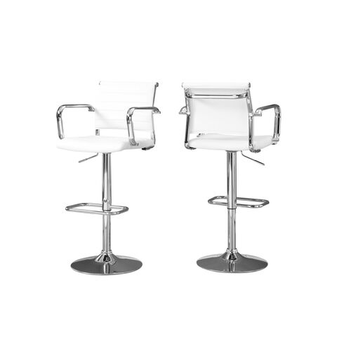 Our Hydraulic Lift Barstool with Chrome Metal - Set of Two - White Leather is on sale now.