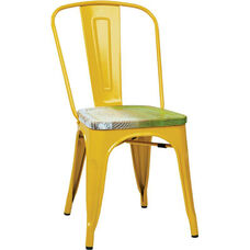OSP Designs Bristow Metal Chair with Wood Seat - 4-Pack - Yellow and Vintage Pine Alice