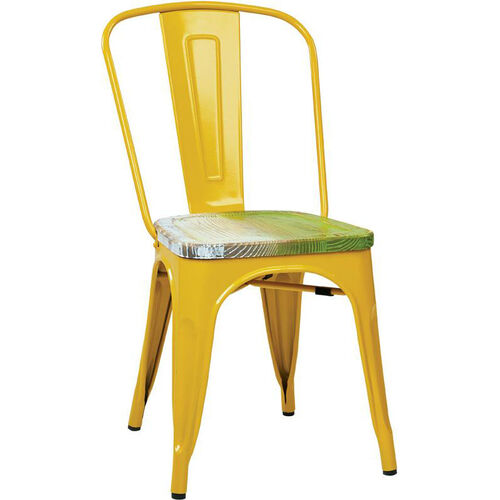 Our OSP Designs Bristow Metal Chair with Wood Seat - 4-Pack - Yellow and Vintage Pine Alice is on sale now.