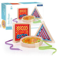 Chunky Wooden Framed Geo Shape Lacing Set with Three Lacing Boards and Multi-Colored Lacing