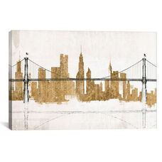 Bridge and Skyline Gold by Avery Tillmon Gallery Wrapped Canvas Artwork