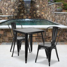 "Commercial Grade 23.75"" Square Black Metal Indoor-Outdoor Table Set with 2 Stack Chairs"