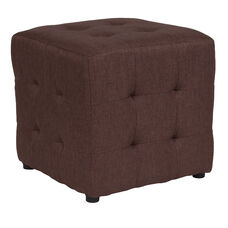 Avendale Tufted Upholstered Ottoman Pouf in Brown Fabric