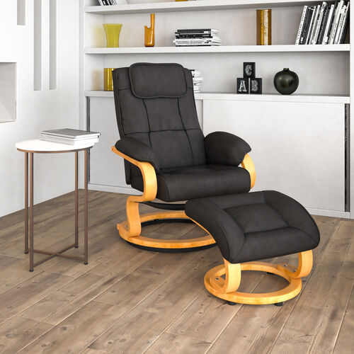 Contemporary Multi-Position Recliner and Ottoman with Swivel Maple Wood Base