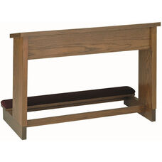 Stained Red Oak Double Prayer Desk with Upholstered Padded Kneeler