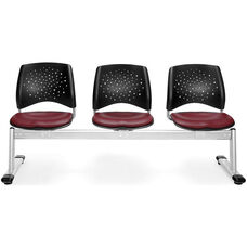 Stars 3-Beam Seating with 3 Vinyl Seats - Wine