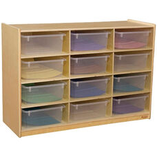 Wooden Cubby Storage Unit with 12 Clear Plastic Storage Trays - 36