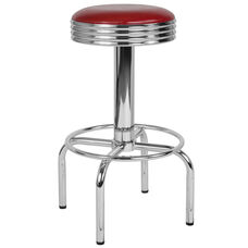Retro Diner Barstool with Chrome Base in Red Vinyl