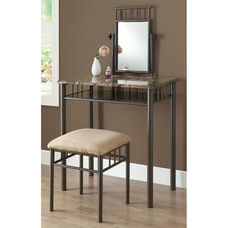 Bronze Metal 2 Piece Vanity Set Faux Marble Top - Cappuccino