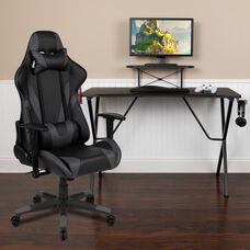 BlackArc Black Gaming Desk and Gray Reclining Gaming Chair Set with Cup Holder, Headphone Hook, and Monitor/Smartphone Stand