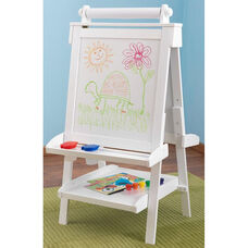 Kids Deluxe Double Sided Wood Art Easel with Paper Roll Dispenser and Chalkboard - White