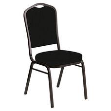 Embroidered Crown Back Banquet Chair in E-Z Elk Black Vinyl - Gold Vein Frame