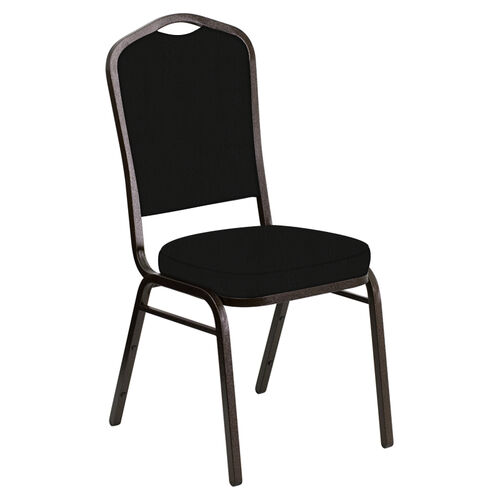 Our Embroidered Crown Back Banquet Chair in E-Z Elk Black Vinyl - Gold Vein Frame is on sale now.