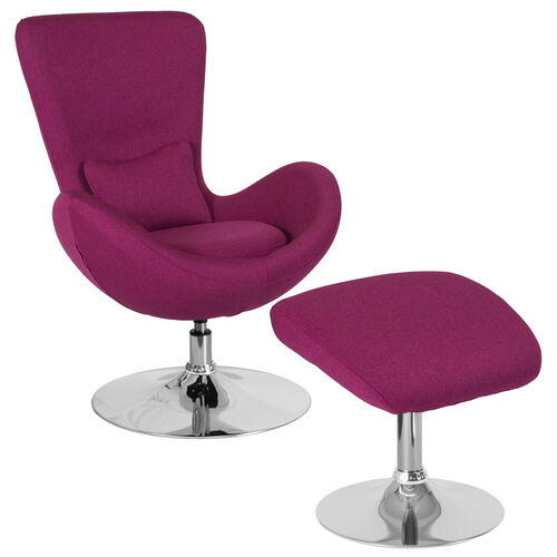 Our Egg Series Magenta Fabric Side Reception Chair with Ottoman is on sale now.
