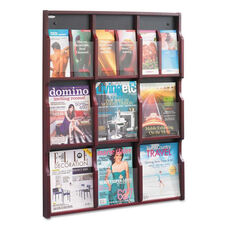 Safco® Expose Adj Magazine/Pamphlet Nine Pocket Display - 29-3/4w x 38-1/4h - Mahogany