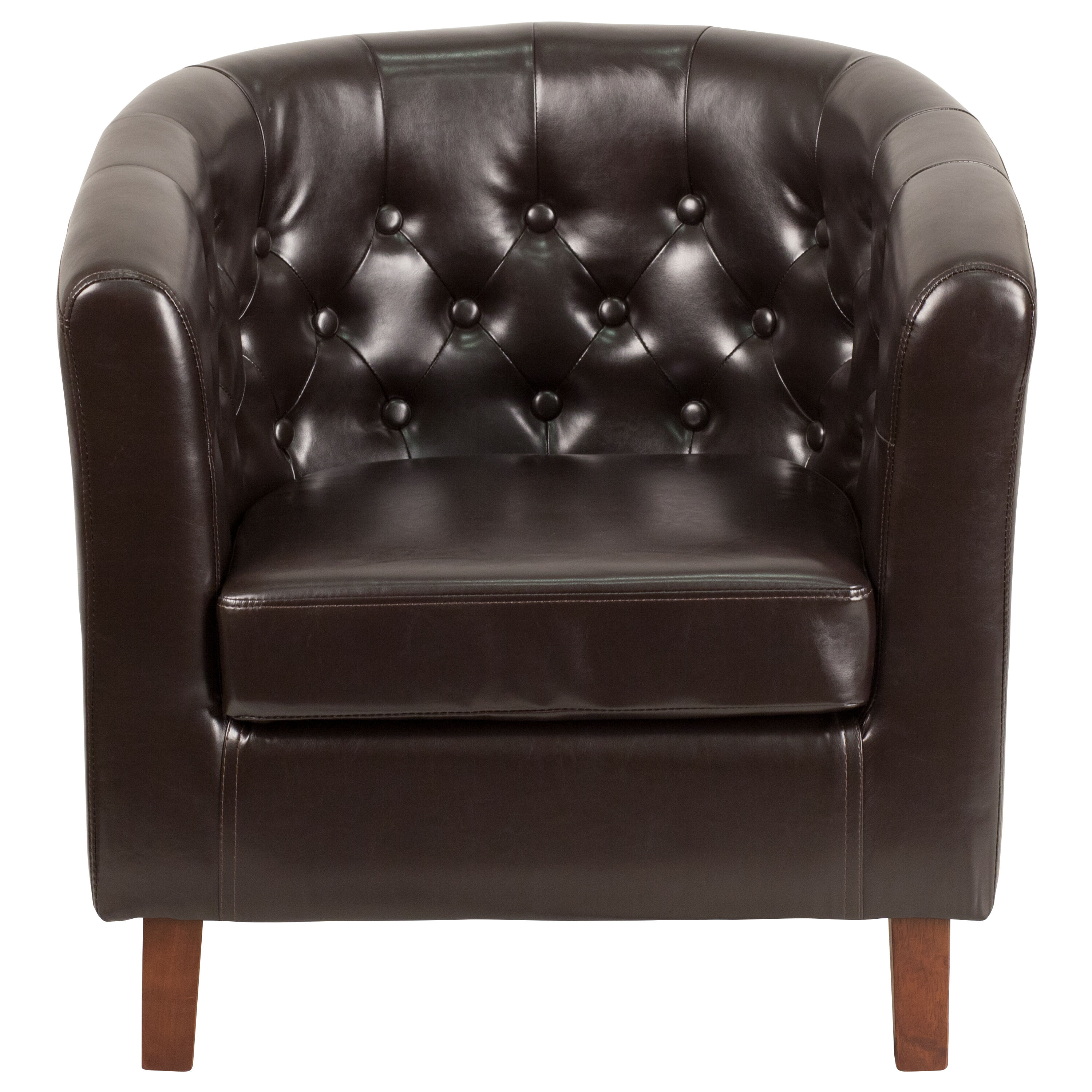 Our HERCULES Cranford Series Brown Leather Tufted Barrel Chair Is On Sale  Now.