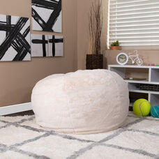 Oversized White Furry Bean Bag Chair for Kids and Adults