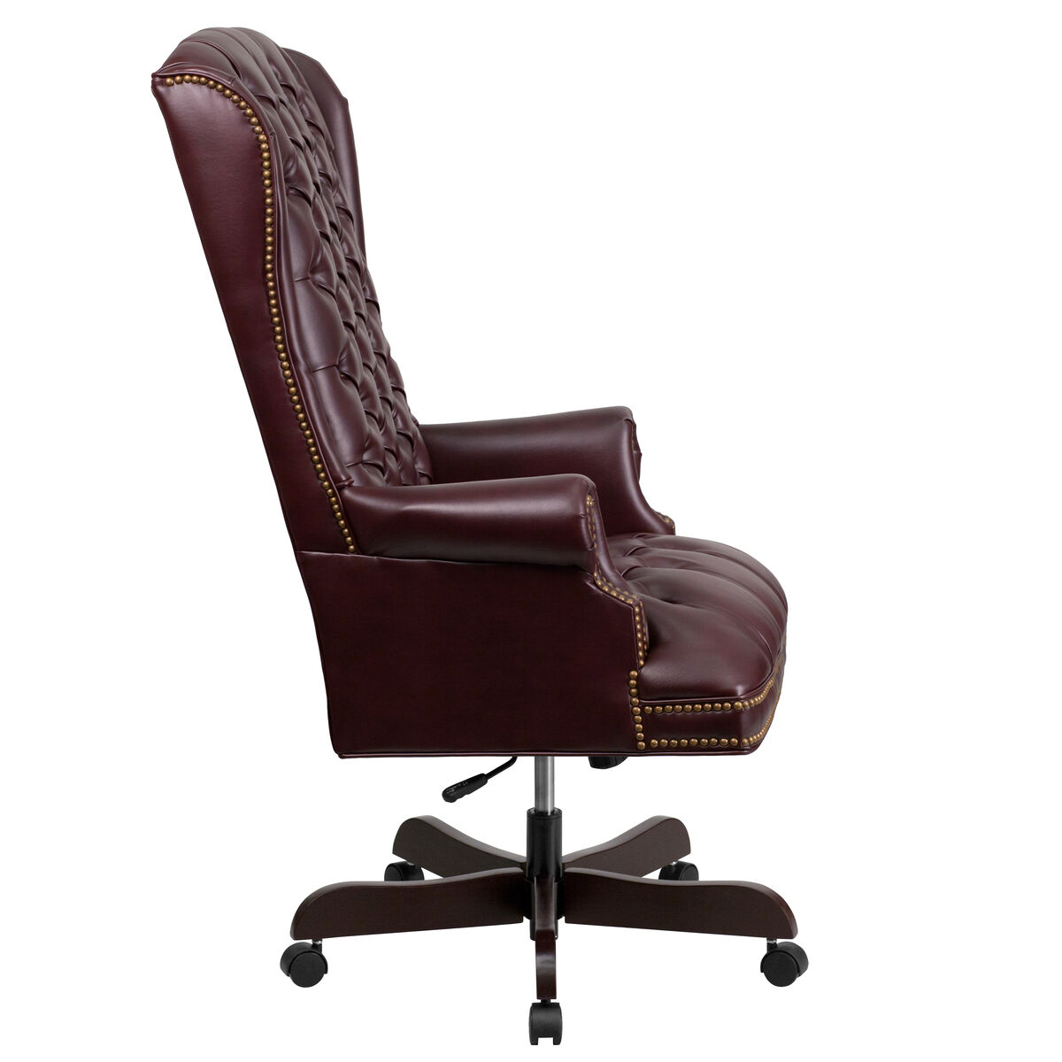 Our High Back Traditional Tufted Burdy Leather Executive Swivel Chair With Arms Is On Now