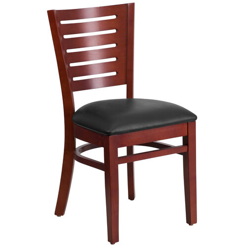 Our Mahogany Finished Slat Back Wooden Restaurant Chair with Black Vinyl Seat is on sale now.