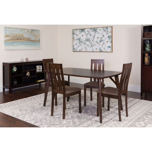 Our Avondale 5 Piece Espresso Wood Dining Table Set with Vertical Slat Back Wood Dining Chairs - Padded Seats is on sale now.