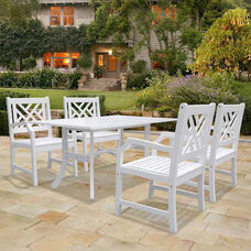 Bradley Outdoor 5 Piece Wood Dining Set with Curvy Leg Table and 4 Herringbone Back Armchairs - White