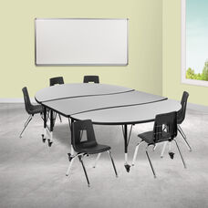 """Mobile 86"""" Oval Wave Collaborative Laminate Activity Table Set with 14"""" Student Stack Chairs, Grey/Black"""