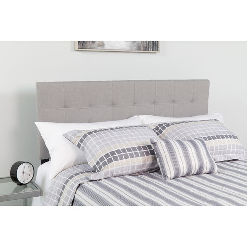Bedford Tufted Upholstered Twin Size Headboard in Light Gray Fabric