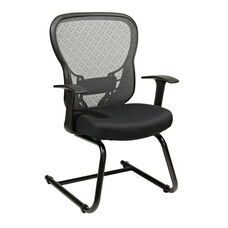 Space Deluxe R2 SpaceGrid® Back Visitors Chair with Fixed Arms and Mesh Seat - Black