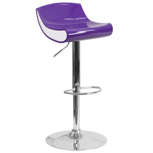 Our Contemporary Purple and White Adjustable Height Plastic Barstool with Chrome Base is on sale now.