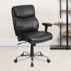 HERCULES Series Big & Tall 400 lb. Rated Black LeatherSoft Ergonomic Task Office Chair with Clean Line Stitching and Arms