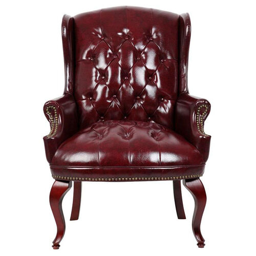 Traditional Button Tufted Wing Back Guest Chair - Oxblood Vinyl
